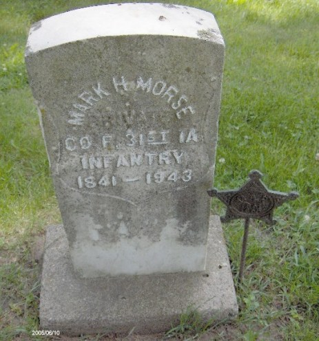 Morse's headstone in the Wyoming Cemetery, Wyoming, IA (Photo courtesy of Ken Wright).