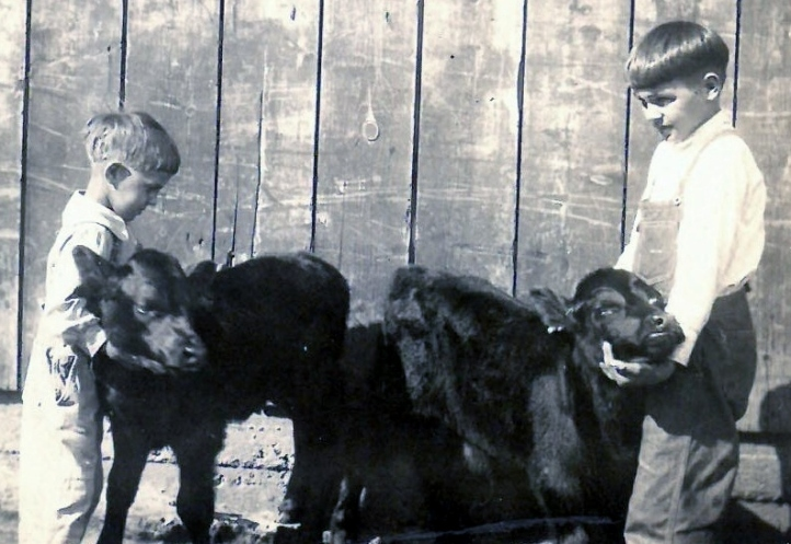 1924 with glenn and calves