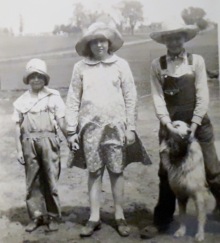 1930s with cousins and dog