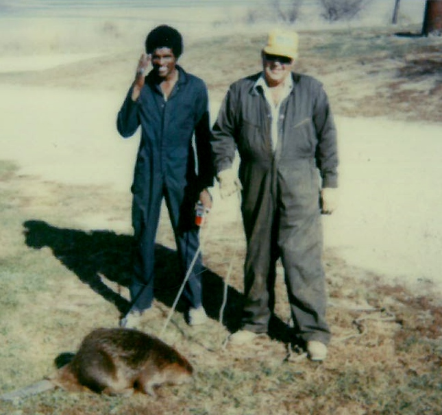 1978 - Gpa and guy with beaver