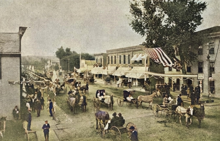 1900 circa - 4th of july celebration - looking north on main from intersection with state st
