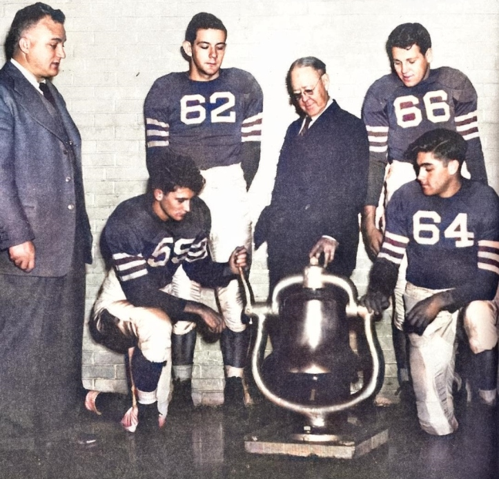 1940s late - dorman & team ring bell in A-D, bell on campus almost 100 yrs at time